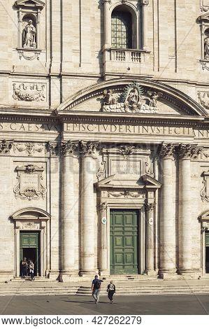 Rome, Italy - October 2019: Front Facade Of Santa Maria In Vallicella, Also Called Chiesa Nuova, A B