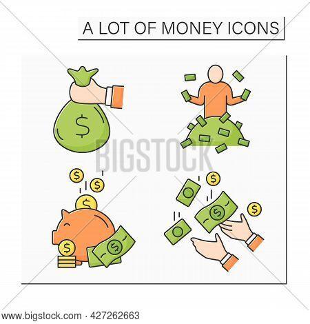Money Color Icons Set. Global Economy. Piggybank, Cash In Bag. Investment, Jackpot. Wealth Concept.