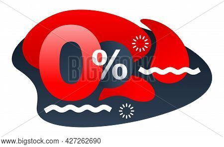 0 Percents Isolated Abstract Banner - Zero Commission Special Offer Template With Red 3d Zero Digit