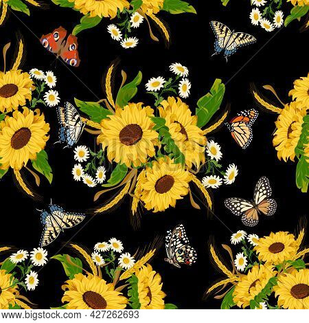 Butterflies And Bouquets With Sunflowers.butterflies, Sunflowers And Daisies On A Black Background I