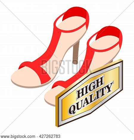 Red Sandals Icon Isometric Vector. Bright Stylish Women Opentoe Sandals With High Heel. High Quality