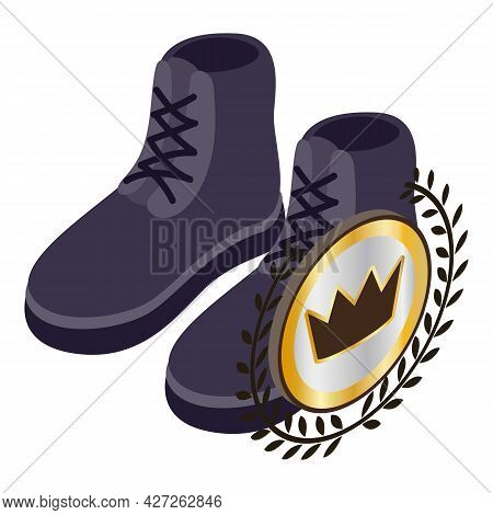 Short Boots Icon Isometric Vector. Dark Blue Men Suede Short Boots With Lacing. Royal Quality Sign,