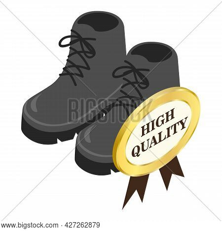 Hiking Boots Icon Isometric Vector. Men Gray Hiking Boots With Laces. High Quality Sign
