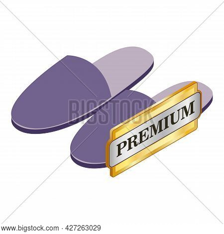 Home Slippers Icon Isometric Vector. Purple Comfortable Unisex Home Shoes. Premium Quality Sign