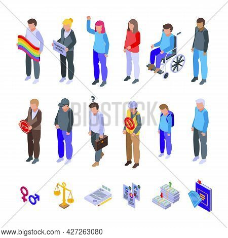 Discrimination Icons Set Isometric Vector. Police Brutality. Civil Rights