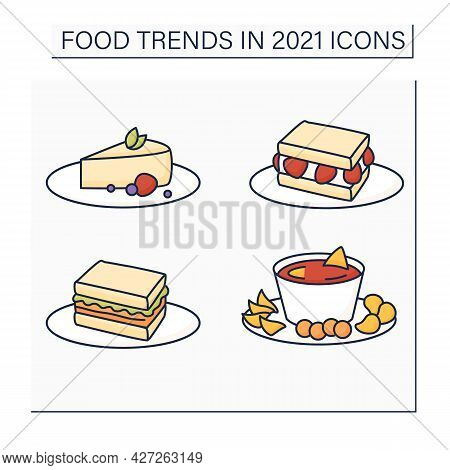 Food Trends Color Icons Set. Trendy Dishes. Sandos With Strawberries And Pork, Beer Cheese, Cheeseca
