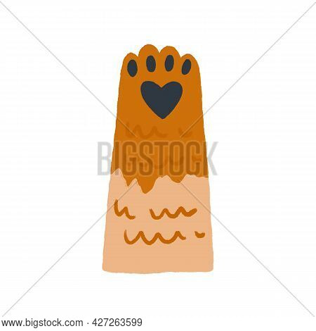Cute Feline Paw With Soft Heart-shaped Pad. Ginger Cats Hand Raised Up, Gesturing Hi. Adorable Delic