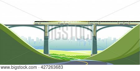 High-speed Train On Bridge. Fast Transport. Railway With Locomotive. Hills. Horizon. Modern Outdoor