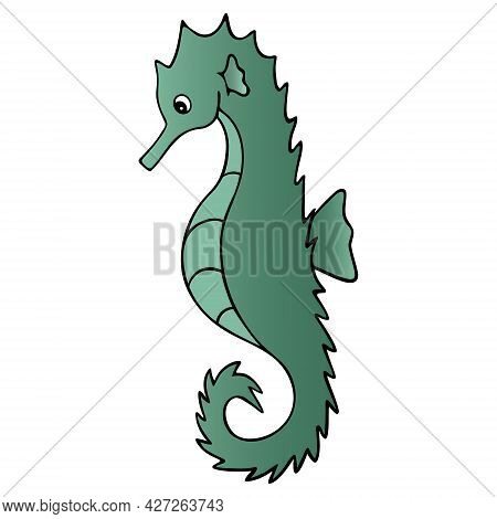 Sea Horse. Fish Of The Order Of Needle-like. Master Of Disguise. Colored Vector Illustration. Isolat