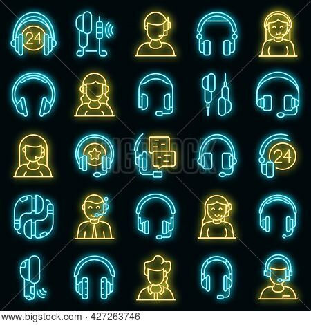 Headset Icons Set. Outline Set Of Headset Vector Icons Neon Color On Black