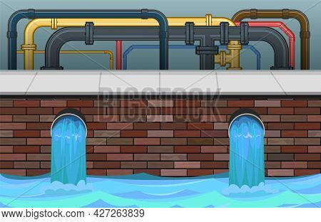 Sewage Discharge. Water Treatment Facilities. Different Pipeline. Eco-protective Structure. Drainage