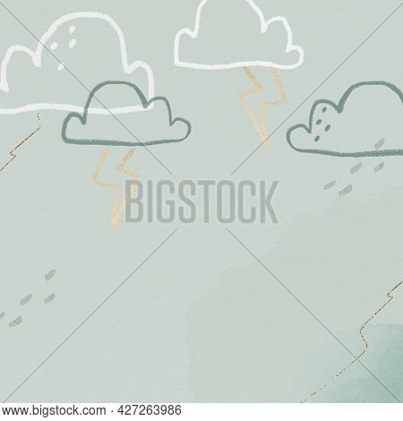 Thunder clouds background in green with glittery cute doodle illustration for kids