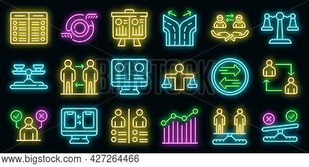 Comparison Icons Set. Outline Set Of Comparison Vector Icons Neon Color On Black