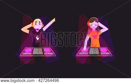 Nightclub Party, Dj Playing Progressive Electro Music At Spotlights Set, Man Standing At Electronic