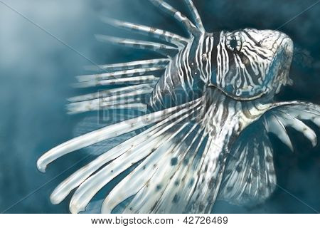 Illustration made with a digital tablet scorpion fish dangerous, sea background