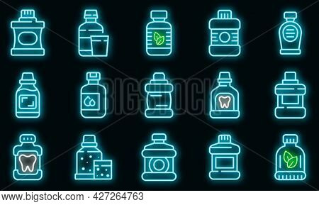 Mouthwash Icons Set. Outline Set Of Mouthwash Vector Icons Neon Color On Black
