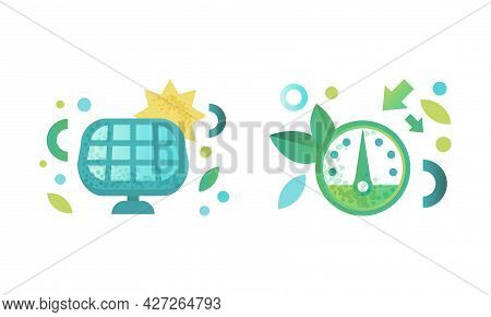 Eco Friendly Technologies Icons Set, Solar Panel, Speedometer, Green Energy And Environment Protecti