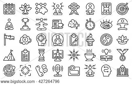 Concentration Icons Set Outline Vector. Yoga Meditate. Mind Relax
