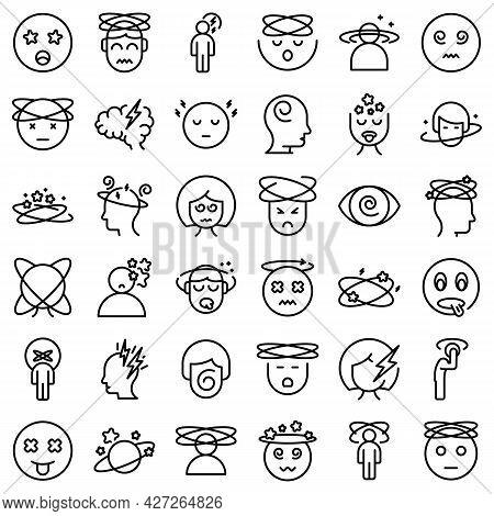 Dizziness Icons Set Outline Vector. Brain Headache. Dizzy Distracted