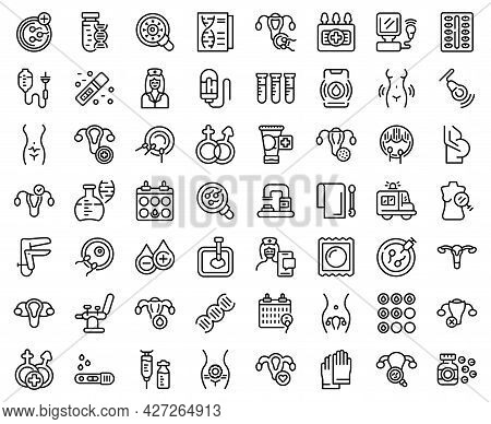 Reproductive Health Icons Set Outline Vector. Gynecologist Menopause. Woman Infection