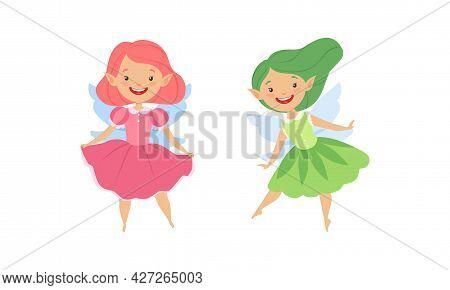 Cute Fairy Girls Set, Adorable Happy Winged Elves Flying Wearing Bright Costumes Cartoon Vector Illu