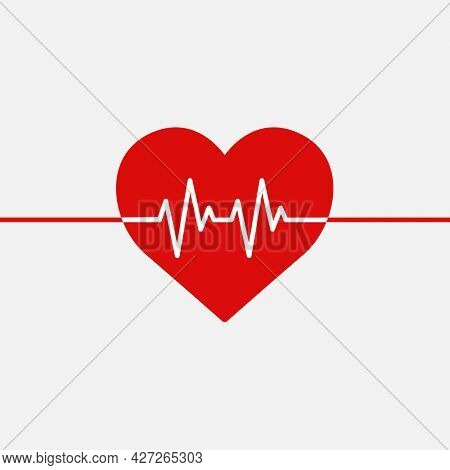 Red medical heartbeat line heart shape graphic in health charity concept