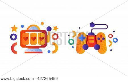 Set Of Entertainment Symbols, Slot Machine, Video Game Controller, Flat Vector Illustration