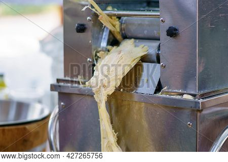 Close Up Of Sugarcane Bagasse. The Waste Of Sugar Manufacture