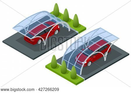 Isometric Street Roof Of Outdoor Parking Lot. Outdoor Of Parking Garage With Car And Vacant Parking