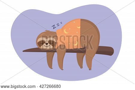 Cute Lazy Baby Sloth Sleeping On A Branch Vector Illustration