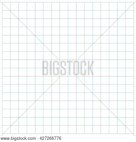 Blue Square Grid Pattern Straight Line Closeup Template. Mathematic Grid Paper Background. Blue Line