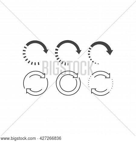 Arrow Circle Loop Black Vector Icon Set. Reload Glyph Symbol.