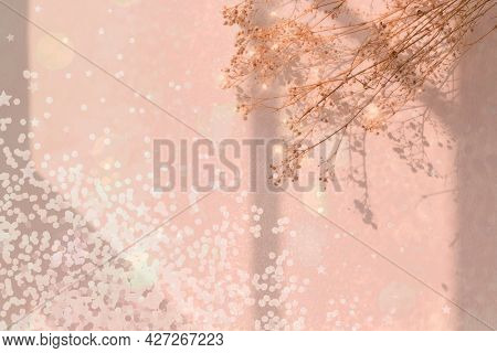 Dreamy background with confetti and flower
