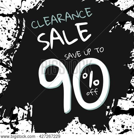 Clearance sale post on ink brush patterned background