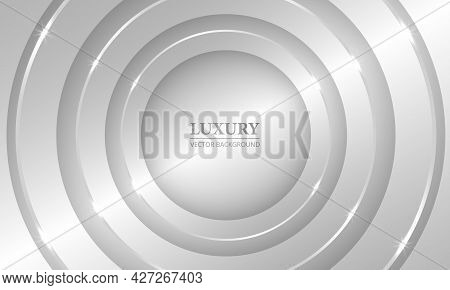 Luxury 3d Silver Abstract Geometric Vector Background With Metallic Circles And Lights. 3d Light Gra