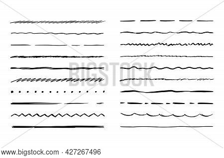 Hand Drawn Line Set. Sketch Scribble Pencil Stroke Style. Horizontal Wave And Zigzag Doodle Line. Ve