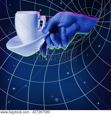 Blue hand with a cup of coffee being drawn by the Black Hole of the Universe or Internet, social media. Provocative modern design. ?ontemporary art collage in trendy urban magazine style.