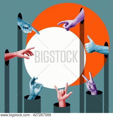 Hands gestures expressing positive emotions, delight, approval, desire to possess, admiration, attention. with copy space. ?ontemporary art design collage in trendy urban minimalistic magazine style.