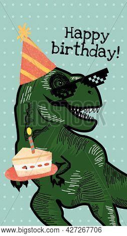 Cool dinosaur birthday greeting illustration for social media story
