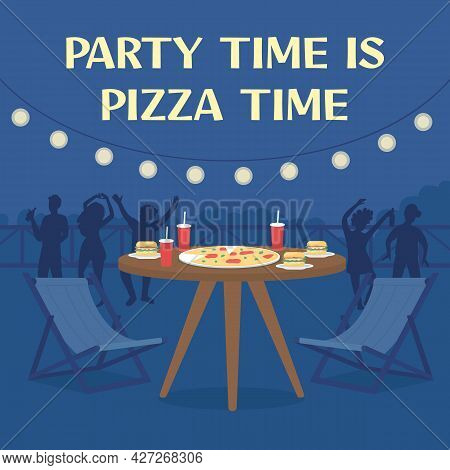 Pizza Delivery Social Media Post Mockup. Party Time Is Pizza Time Phrase. Web Banner Design Template