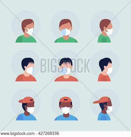 Surgical White Masks Semi Flat Color Vector Character Avatar Set. Portrait With Respirator From Fron