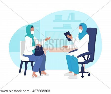 Physician Office Visit 2d Vector Isolated Illustration. Routine Medical Appointment Flat Characters