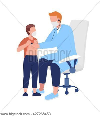 Doctor Performs Lung Assessment For Patient Semi Flat Color Vector Characters. Full Body People On W