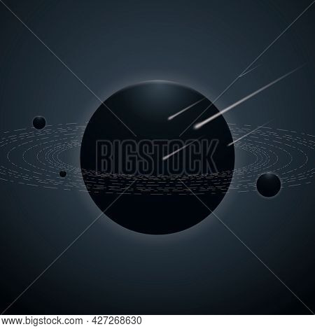 Aesthetic planet galaxy background in gradient gray and blue