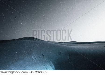 Desert under starry sky background aesthetic remixed media landscape