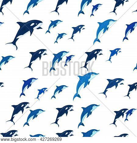 Marine Life Seamless Pattern. Dolphins And Killer Whales.