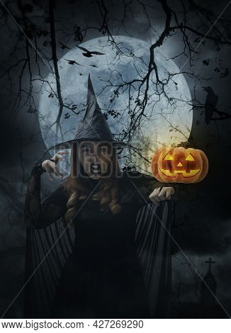 Halloween Witch With Pumpkin Monster Head Standing Over Cross, Church, Crow, Birds, Dead Tree, Full