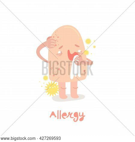 Allergy Cartoon Character In A Trendy Style.