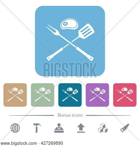 Barbecue Fork And Spatula With Steak White Flat Icons On Color Rounded Square Backgrounds. 6 Bonus I