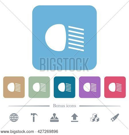 Dipped Beam Lights White Flat Icons On Color Rounded Square Backgrounds. 6 Bonus Icons Included